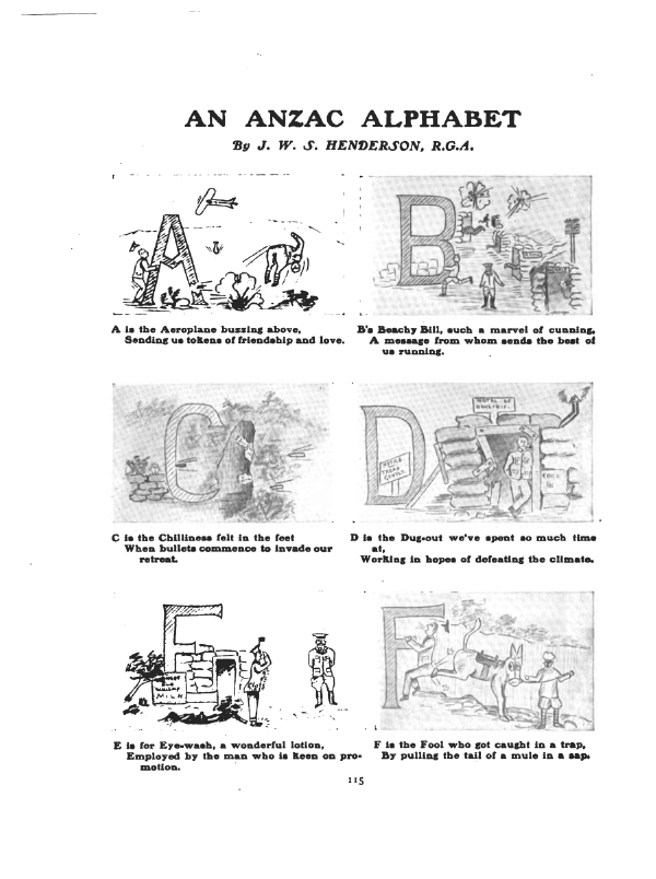 The Anzac Book 1916 Part Ii Two Anzac Alphabets