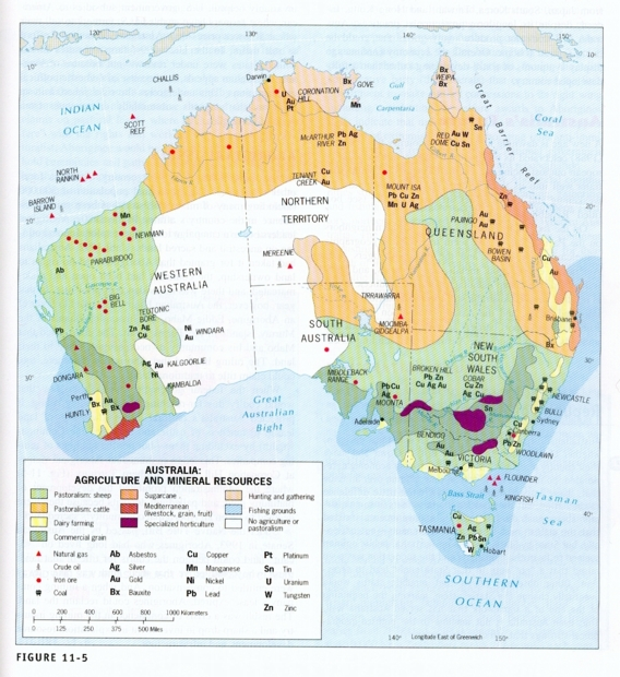 map of agricultural and mineral resources